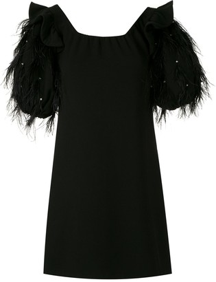 Andrea Bogosian Feather Trim Puff-Sleeves Dress