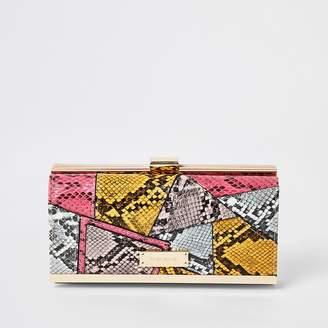 River Island Pink snake print patchwork cliptop purse