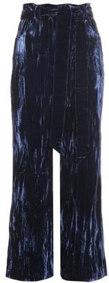 Wales Bonner Prosper Crushed Velvet Flared Trousers - Womens - Navy