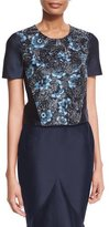 Zac Posen Floral-Embroidered Crop Top