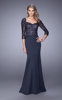 La Femme 21673 Quarter Sleeve Appliqued Gown