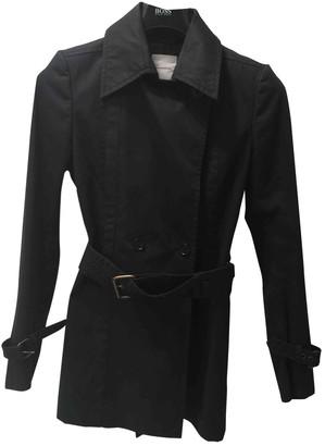 CNC Costume National Black Cotton Trench Coat for Women