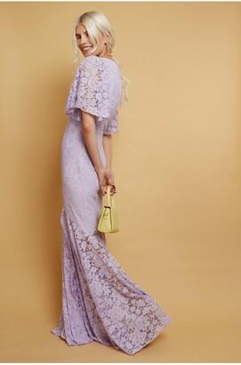 Little Mistress Wilmer Lilac Lace Fishtail Maxi Dress