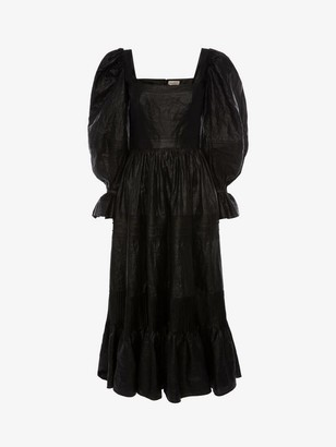 Alexander McQueen Pin Tuck Beetled Linen Dress