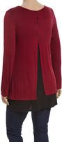 Celeste Burgundy & Black Color Block Button-Back Top - Plus