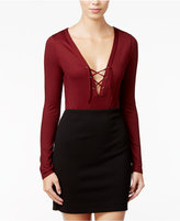 Material Girl Lace-Up Rib-Knit Bodysuit, Only at Macy's