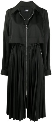 Karl Lagerfeld Paris Pleated Zip-Up Trench Coat