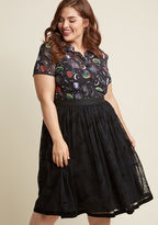 Hell Bunny Where, Web, Why A-Line Midi Skirt in S - Full Skirt by Hell Bunny from ModCloth