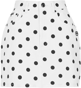 Marc Jacobs White polka-dot denim mini skirt