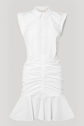 Veronica Beard Bell Ruched Stretch-cotton Poplin Dress - White