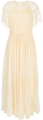 Chloé Floral Lace Draped Sleeves Dress