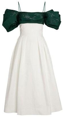 Rasario Puff-Sleeve Midi Dress