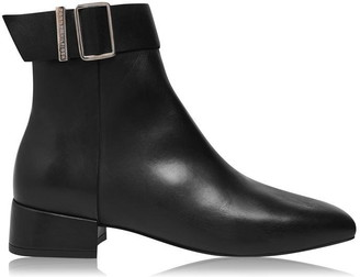 Tommy Hilfiger Square Toe Leather Mid Heel Boots