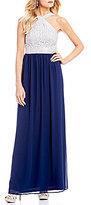 Jodi Kristopher Y-Neck Chain Lace Bodice Long Dress