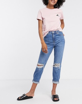 Topshop super rip dad jeans in mid wash blue