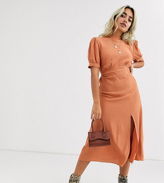 New Look Petite split front midi dress in camel-Brown