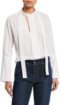 Palmer Harding Palmer//Harding Astana Slit Tie-Neck Cotton Shirt