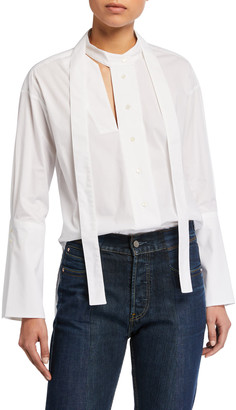 Palmer Harding Astana Slit Tie-Neck Cotton Shirt