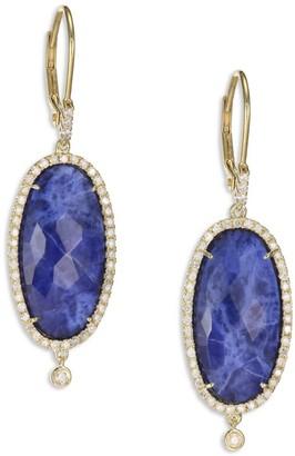 Meira T Sodalite, Diamond & 14K Yellow Gold Drop Earrings
