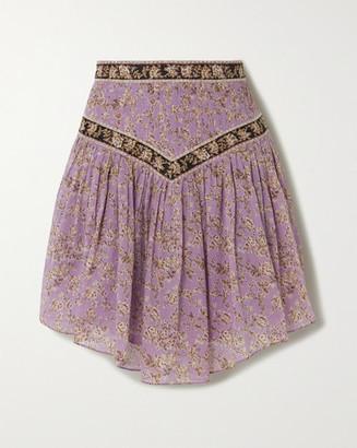 Etoile Isabel Marant Valerie Pintucked Floral-print Cotton-voile Skirt