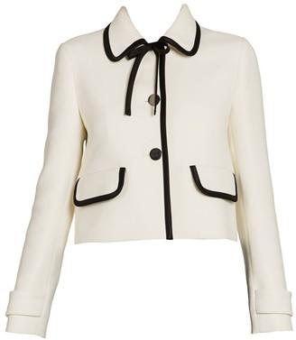 Prada Bow-Trimmed Virgin Wool Jacket