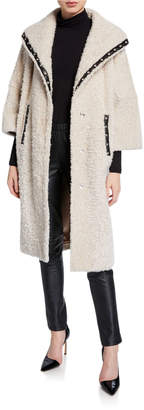 Nour Hammour Suzie Leather-Trim Shearling Coat