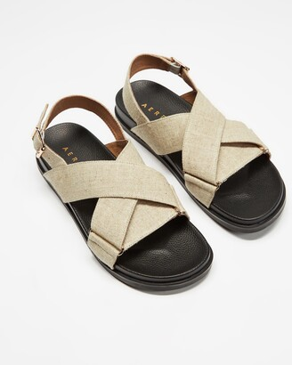 AERE - Women's Neutrals Strappy sandals - Linen Crossover Footbed Sandals - Size 6 at The Iconic