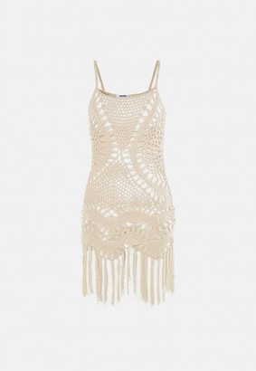 Missguided Cream Crochet Fringed Mini Dress