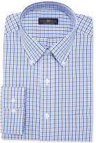 Club Room Estate Classic-Fit Wrinkle Resistant China Blue Twill Gingham Dress Shirt