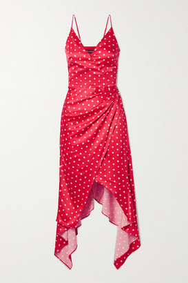 HANEY Olivia Asymmetric Wrap-effect Polka-dot Satin Dress - Red