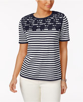 Alfred Dunner Striped Appliquéd Sweater