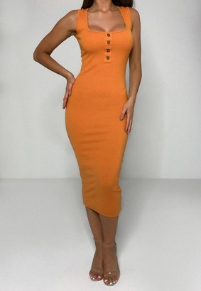 Missguided Orange Rib Tortoiseshell Button Midaxi Dress