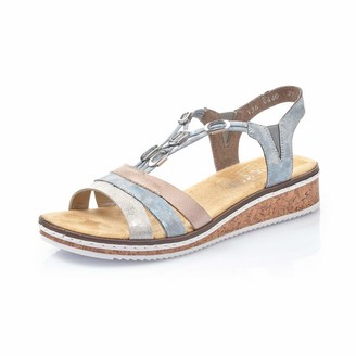 Rieker Women Sandals V36G4 Ladies Wedge Sandals Wedge Sandals Summer Shoes Comfortable Flat Fog-Silver 39 EU / 6 UK