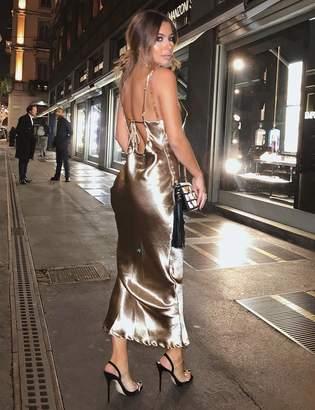 Public Desire Satin Tie Back Detail Cami Maxi Dress