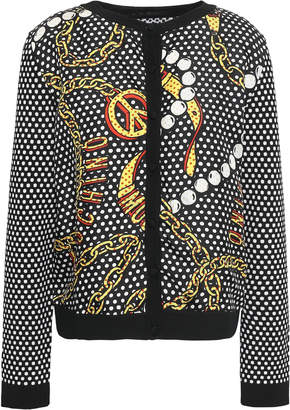 Moschino Printed Silk-twill And Wool Cardigan