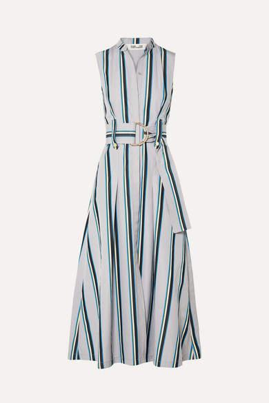 Diane von Furstenberg Belted Striped Cotton Midi Dress - Gray