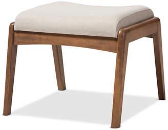 Baxton Studio Roxy Walnut Wood Finishing and Light Beige Fabric Upholstered Ottoman