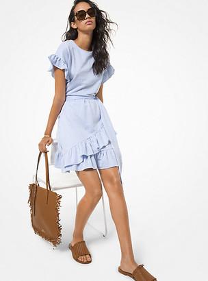 Michael Kors Seersucker Ruffled Dress