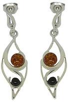 Goldmajor Amber and Sterling Silver Two Tone Drop Earrings, Silver/Amber