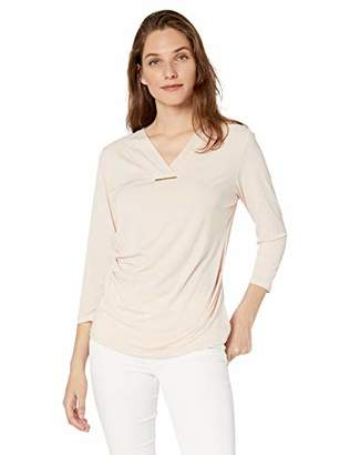 Calvin Klein Women's 3/4 Sleeve Top with Ruching and Bar Hardware