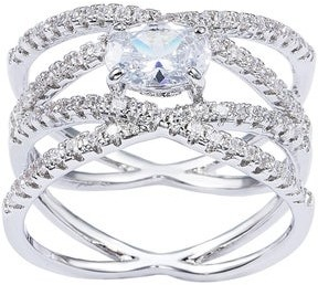 1.01ct. Oval-cut Silver Center CZ 2-Cross Over Pave Set Accent Stones Engagement Ring by Simon Frank Designs