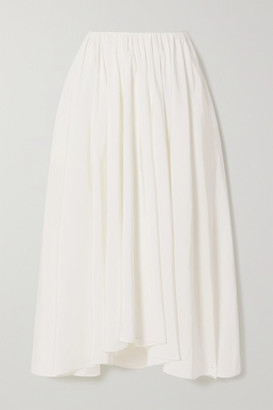 Jil Sander Asymmetric Pleated Voile Midi Skirt - White