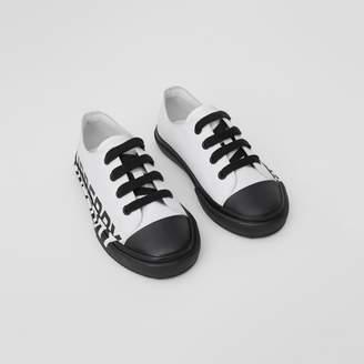 Burberry Childrens Logo Print Two-tone Cotton Gabardine Sneakers