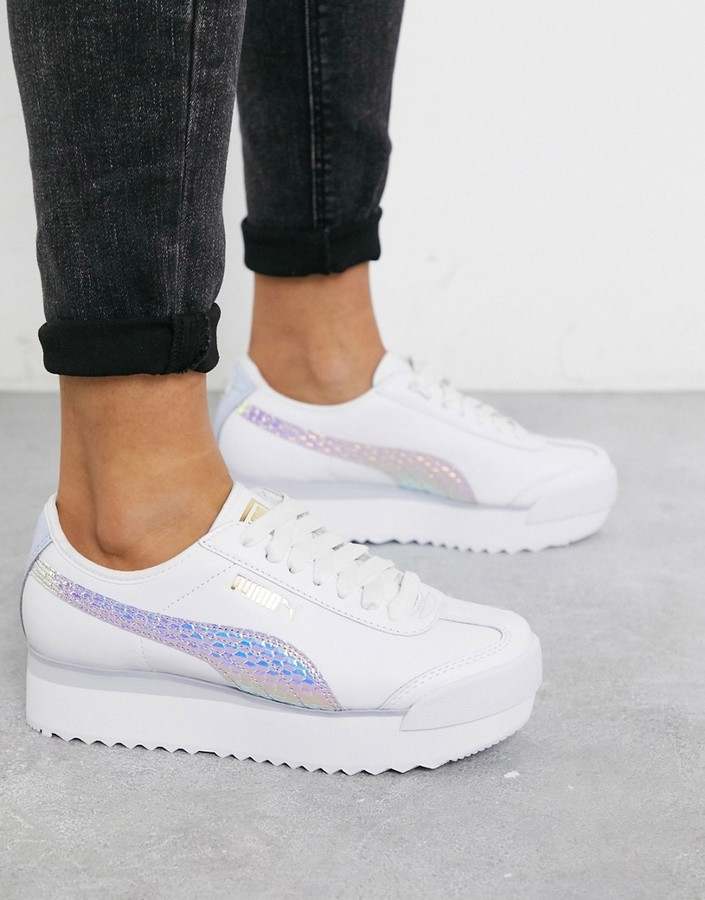 Roma Amor metallic sneakers in white