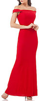 Carmen Marc Valvo Off-the-Shoulder Stretch Crepe Gown