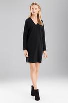 Josie Natori Double Knit Jersey VNeck Dress With Sleeves