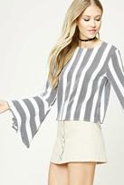 Forever 21 FOREVER 21+ Striped Bell-Sleeve Top