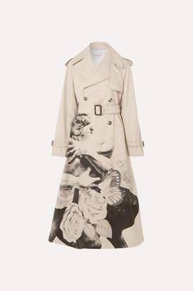 Valentino Printed Cotton-gabardine Trench Coat - Beige