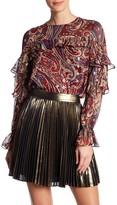 Haute Hippie Printed Long Sleeve Ruffle Blouse