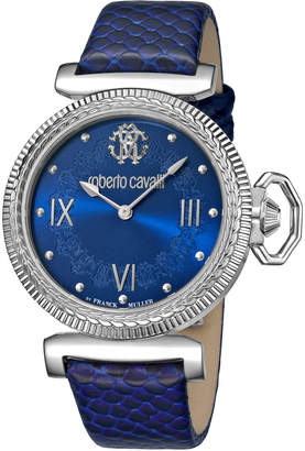 Roberto Cavalli By Franck Muller 38mm Classic Leather Watch, Blue